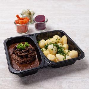 Gammeldags Dansk bøf med løg, brun sovs og hvide kartofler